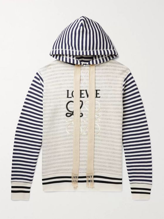 LOEWE Logo-Embroidered Panelled Striped Loopback Cotton-Jersey Hoodie