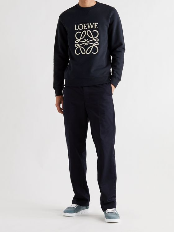 LOEWE Slim-Fit Logo-Embroidered Loopback Cotton-Jersey Sweatshirt