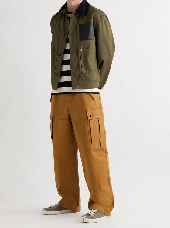 LOEWE Corduroy and Leather-Trimmed Cotton-Twill Chore Jacket