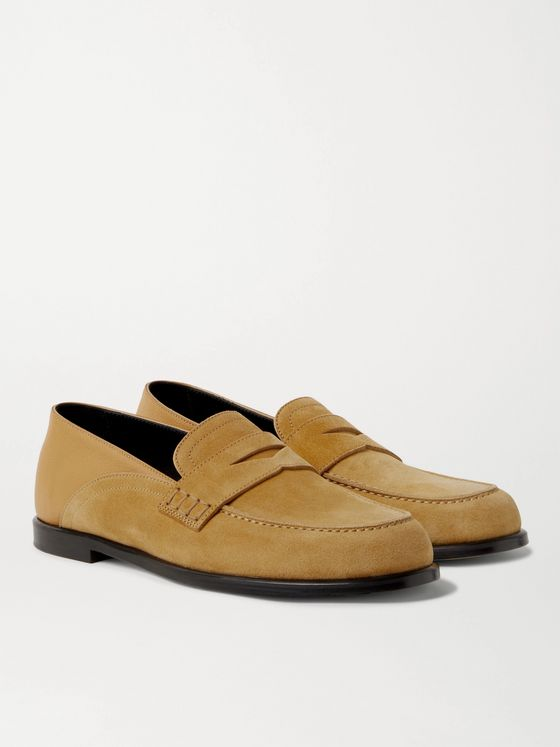 LOEWE Collapsible-Heel Suede and Full-Grain Leather Penny Loafers