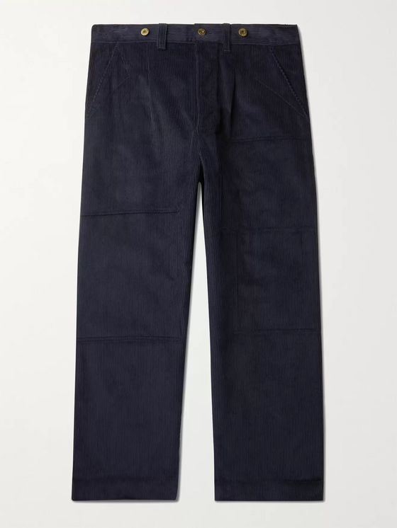 LOEWE Wide-Leg Pleated Cotton-Corduroy Trousers