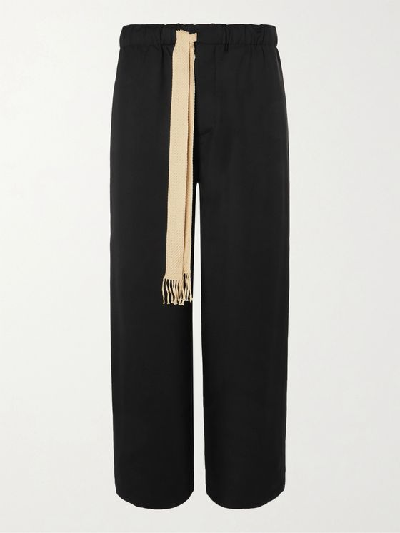 LOEWE Wide-Leg Wool-Twill Drawstring Trousers