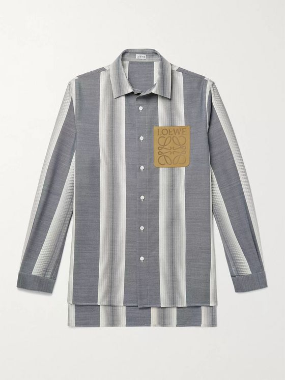LOEWE Suede-Trimmed Striped Wool and Cotton-Blend Shirt