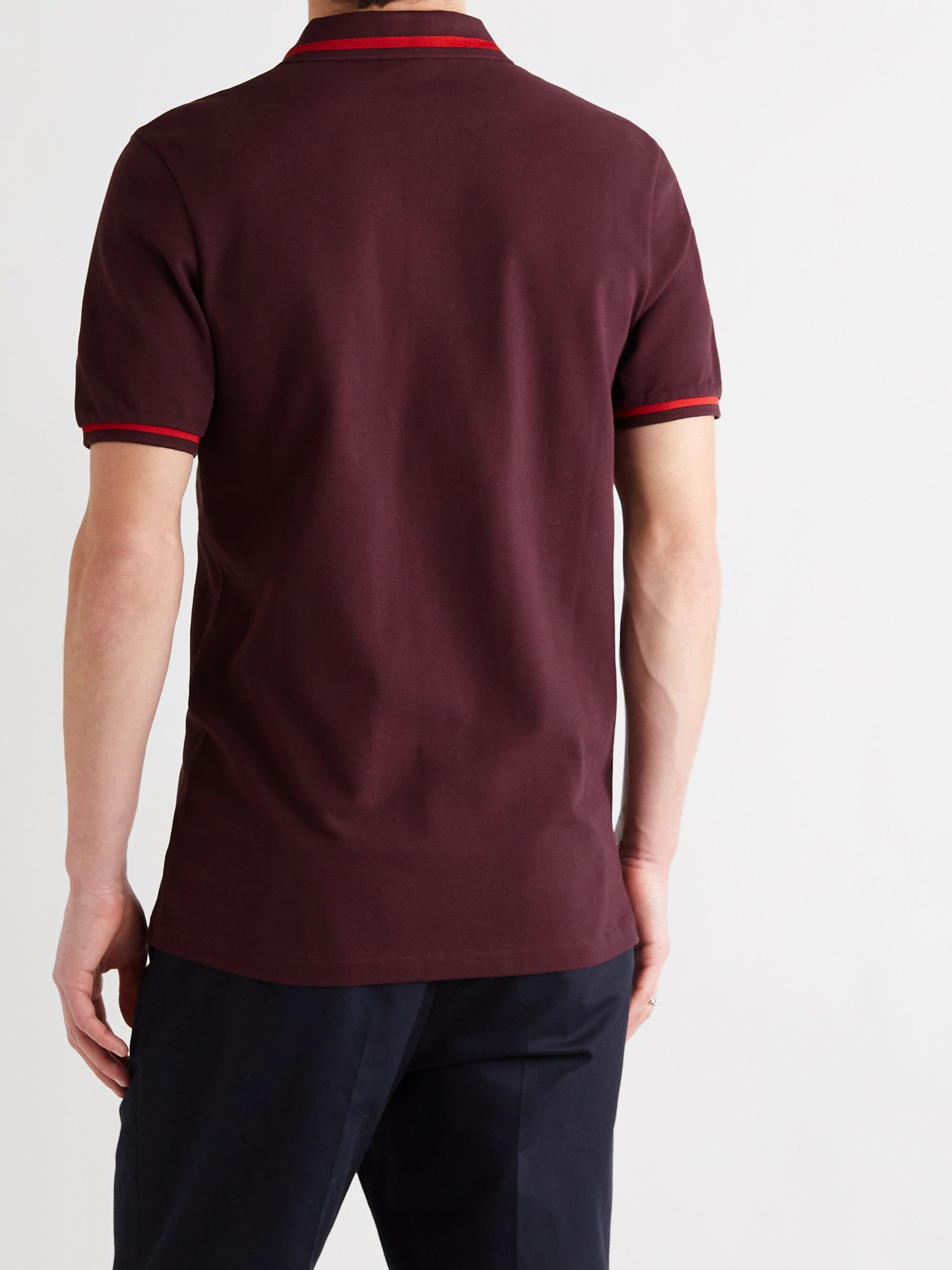 LOEWE Slim-Fit Contrast-Tipped Logo-Embroidered Cotton-Piqué Polo Shirt
