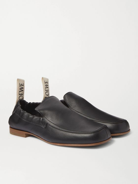 LOEWE Grosgrain-Trimmed Leather Loafers