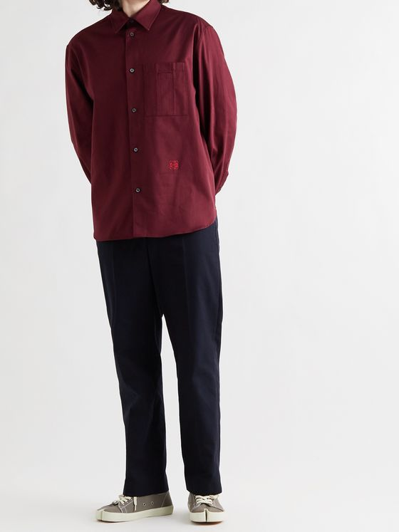 LOEWE Logo-Embroidered Cotton-Drill Shirt