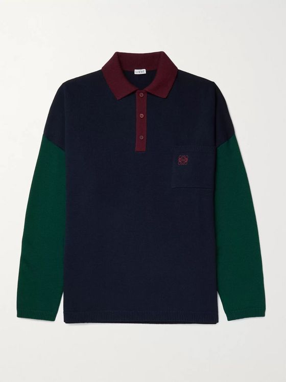 LOEWE Logo-Embroidered Colour-Block Wool Polo Shirt
