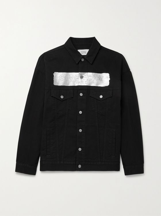 GIVENCHY Oversized Metallic Logo-Embossed Denim Jacket