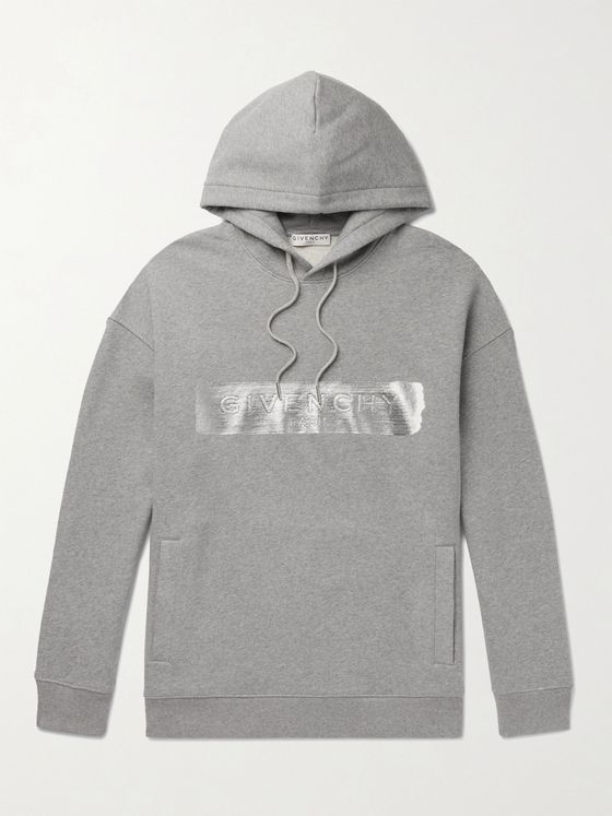 GIVENCHY Metallic Logo-Embossed Cotton-Jersey Hoodie