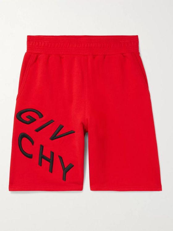 GIVENCHY Wide-Leg Logo-Embroidered Loopback Cotton-Jersey Shorts