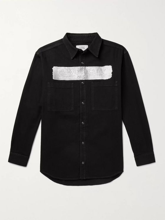GIVENCHY Metallic Logo-Embossed Denim Shirt