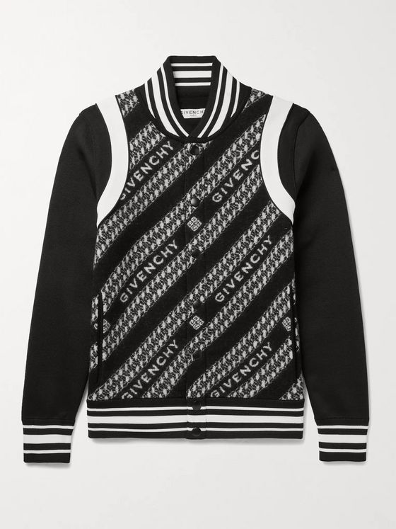 GIVENCHY Slim-Fit Logo-Jacquard Wool and Tech-Jersey Bomber Jacket