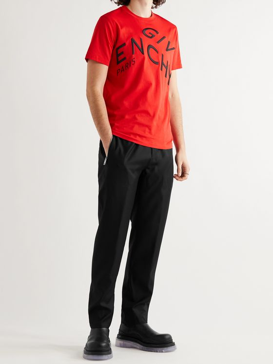 GIVENCHY Tapered Logo-Appliquéd Wool-Twill Track Pants