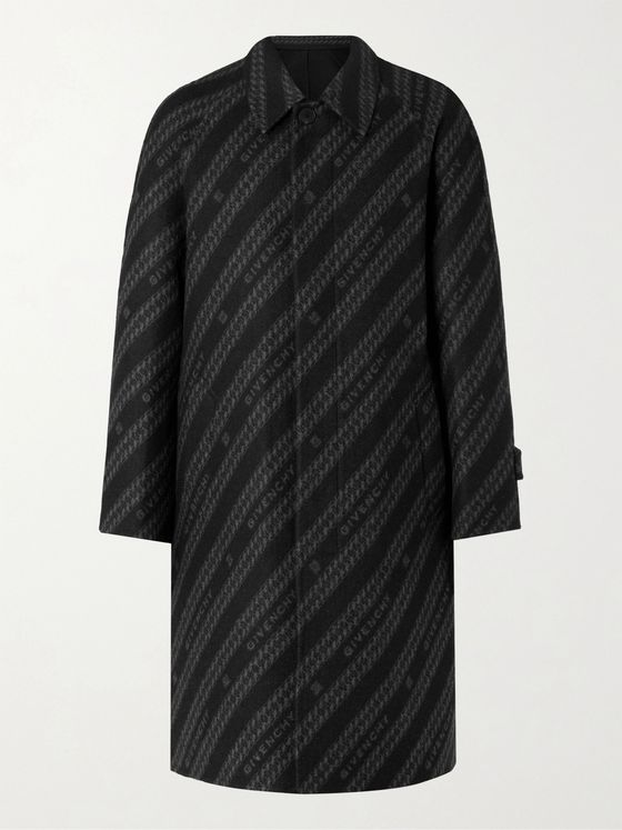 GIVENCHY Reversible Logo-Jacquard Wool, Silk and Cashmere-Blend Coat