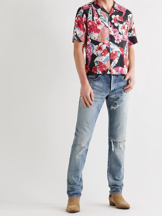 SAINT LAURENT Camp-Collar Floral-Print Lyocell Shirt