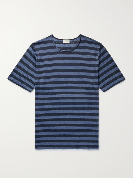 SAINT LAURENT Striped Linen-Jersey T-Shirt