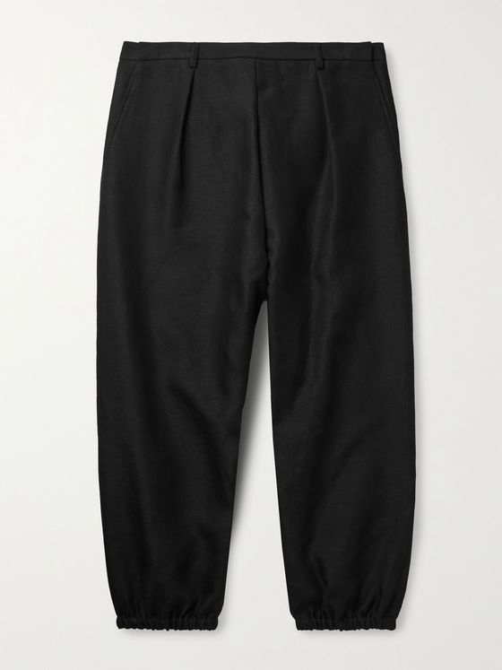 SAINT LAURENT Tapered Pleated Linen and Cotton-Blend Trousers