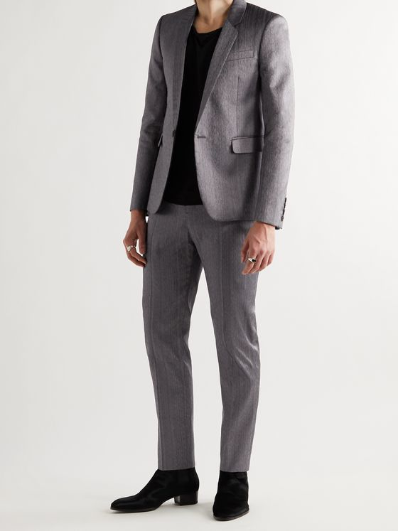SAINT LAURENT Slim-Fit Silk-Blend Shantung Suit Jacket