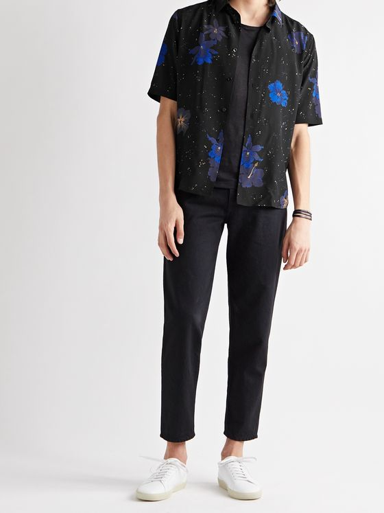 SAINT LAURENT Floral-Print Silk-Crepe Shirt