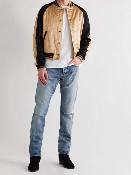 SAINT LAURENT Slim-Fit Piped Colour-Block Quilted Satin Bomber Jacket