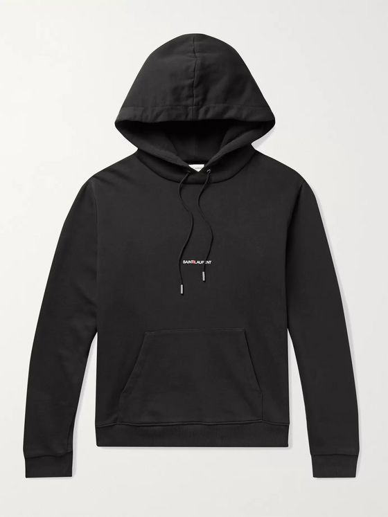SAINT LAURENT Slim-Fit Logo-Print Loopback Cotton-Jersey Hoodie