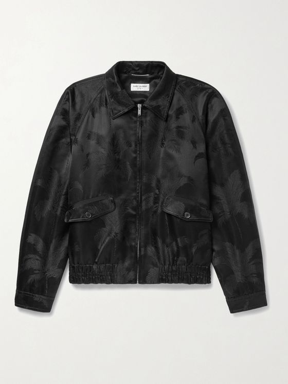 SAINT LAURENT Grosgrain-Trimmed Satin-Jacquard Bomber Jacket