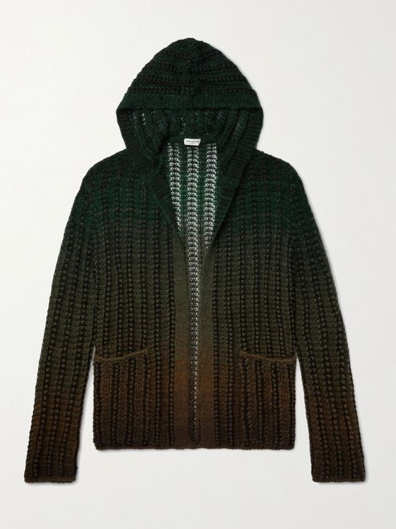 SAINT LAURENT Dégradé Open-Knit Hooded Cardigan