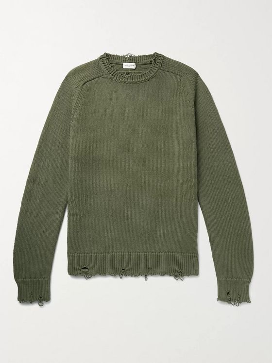 SAINT LAURENT Distressed Cotton Sweater
