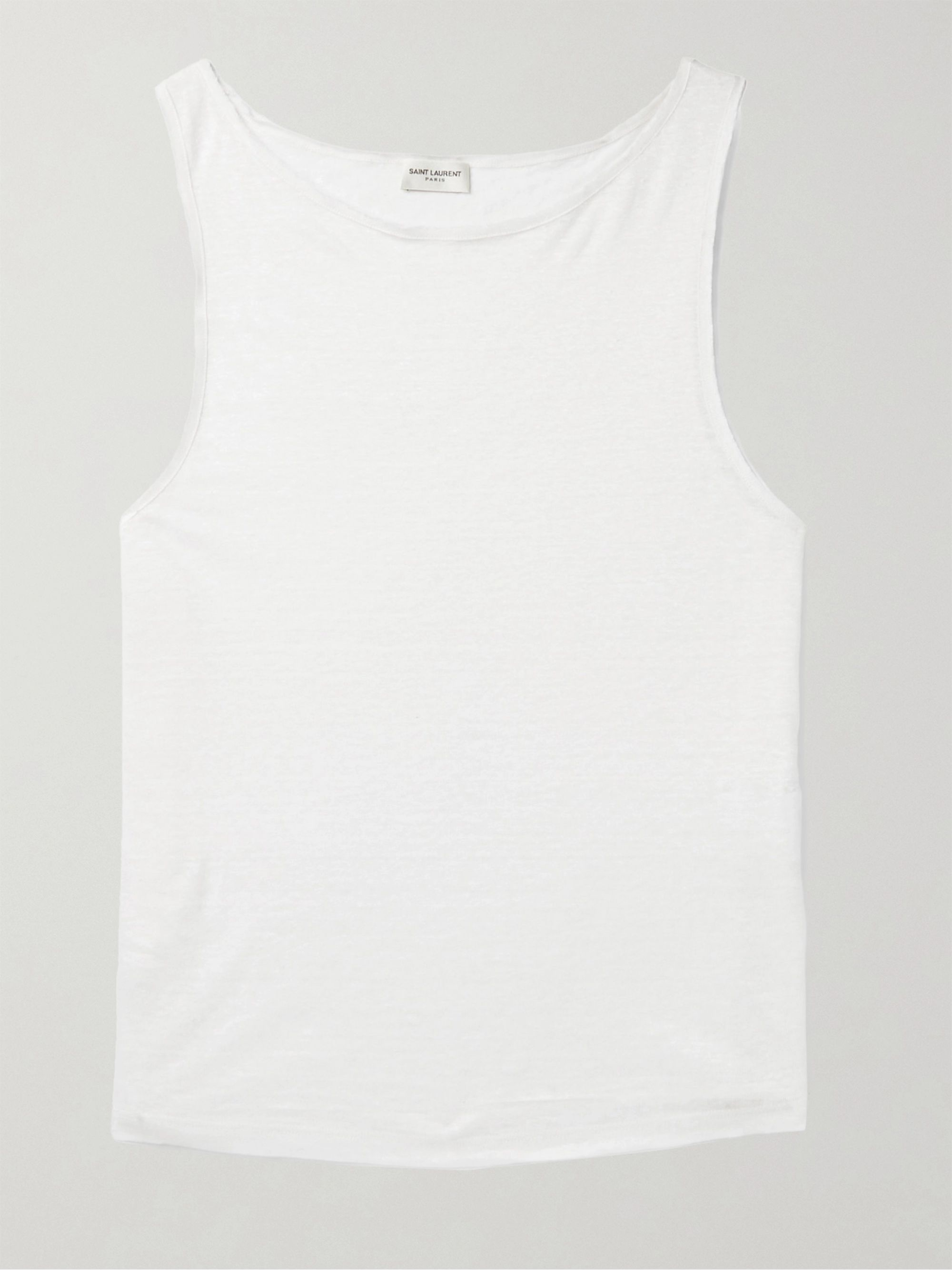 SAINT LAURENT Slim-Fit Slub Linen Tank Top