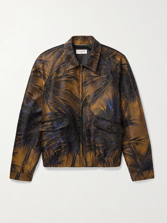 SAINT LAURENT Slim-Fit Metallic Jacquard Bomber Jacket