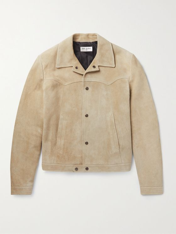 SAINT LAURENT Kong Slim-Fit Camp-Collar Suede Jacket