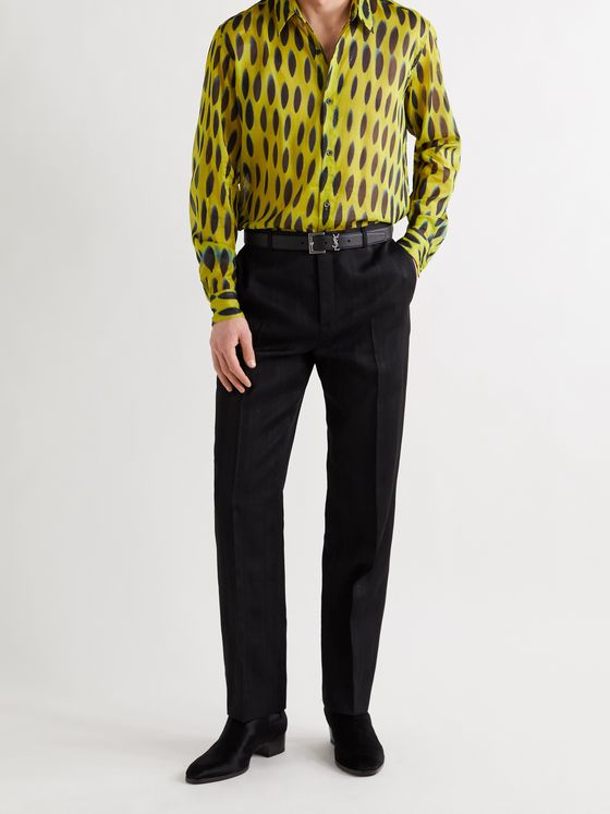 SAINT LAURENT Wool, Silk and Cotton-Blend Jacquard Trousers