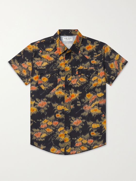 SAINT LAURENT Slim-Fit Printed Lyocell Shirt