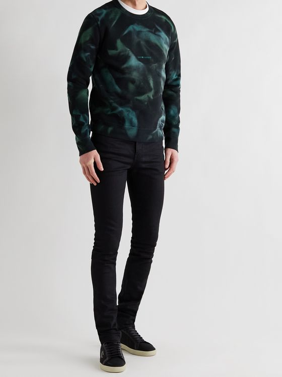 SAINT LAURENT Slim-Fit Tie-Dyed Fleece-Back Cotton-Jersey Sweatshirt