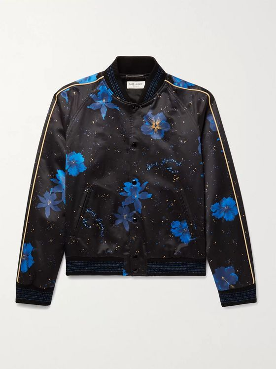SAINT LAURENT Piped Floral-Print Cotton-Blend Satin Bomber Jacket