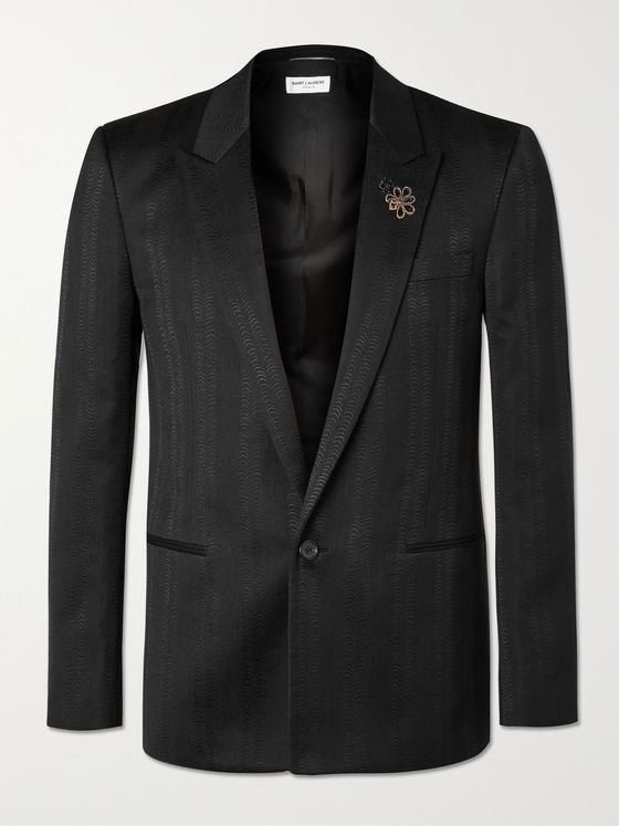 SAINT LAURENT Slim-Fit Wool, Silk and Cotton-Blend Jacquard Suit Jacket