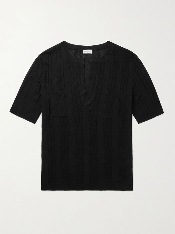 SAINT LAURENT Ribbed Linen and Silk-Blend T-Shirt