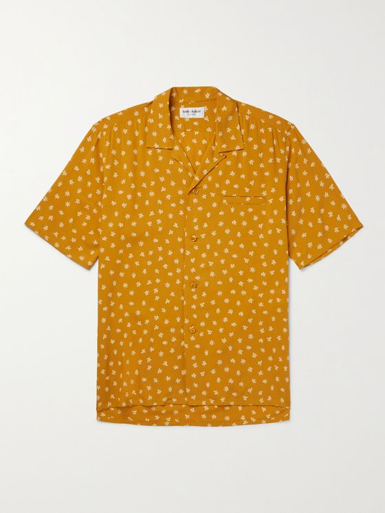 SAINT LAURENT Camp-Collar Printed Woven Shirt