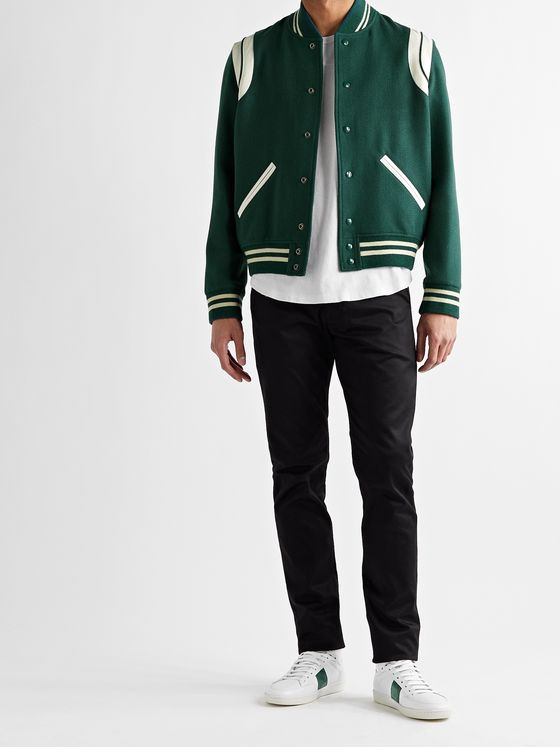 SAINT LAURENT Teddy Leather-Trimmed Virgin Wool-Blend Bomber Jacket