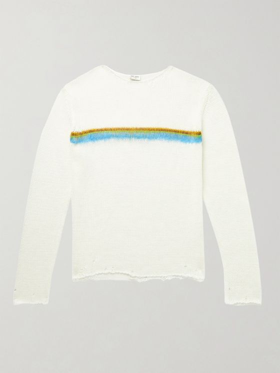 SAINT LAURENT Distressed Intarsia Linen-Blend Sweater