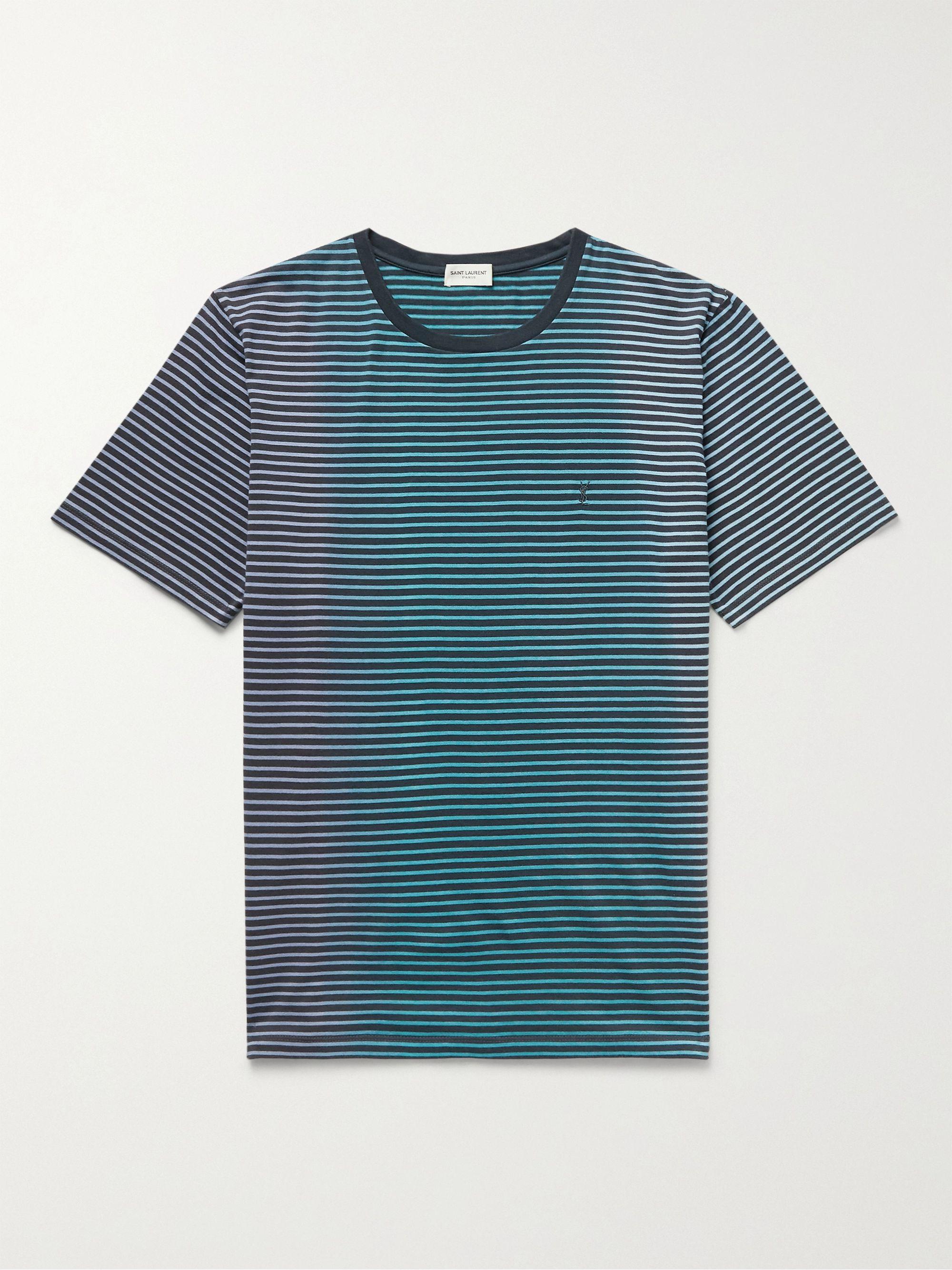 생 로랑 Saint Laurent Degrade Striped Cotton-Jersey T-Shirt,Blue