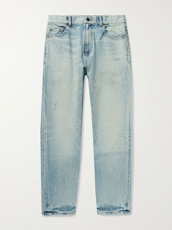 SAINT LAURENT Slim-Fit Tapered Distressed Denim Jeans
