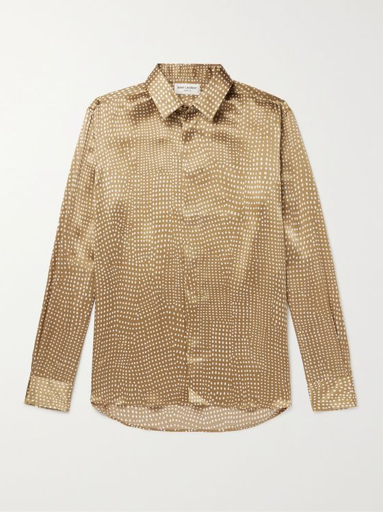 SAINT LAURENT Polka-Dot Silk-Satin Shirt