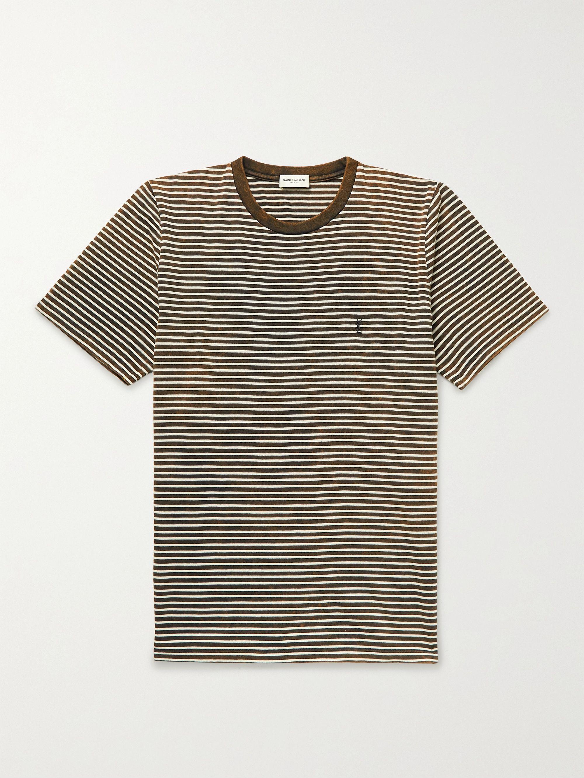 생 로랑 Saint Laurent Striped Cotton-Jersey T-Shirt,Brown