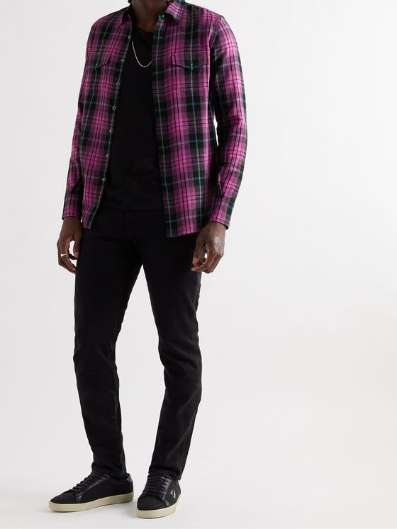 SAINT LAURENT Slim-Fit Checked Woven Western Shirt
