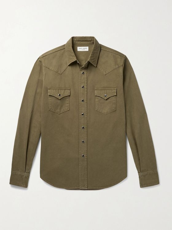 SAINT LAURENT Herringbone Cotton Western Shirt