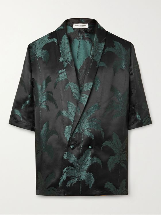 SAINT LAURENT Shawl-Collar Satin-Jacquard Shirt