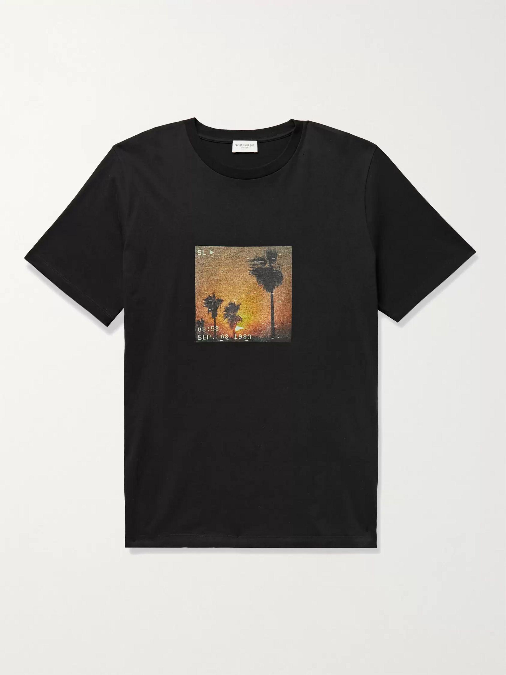 생 로랑 Saint Laurent Printed Cotton-Jersey T-Shirt,Black