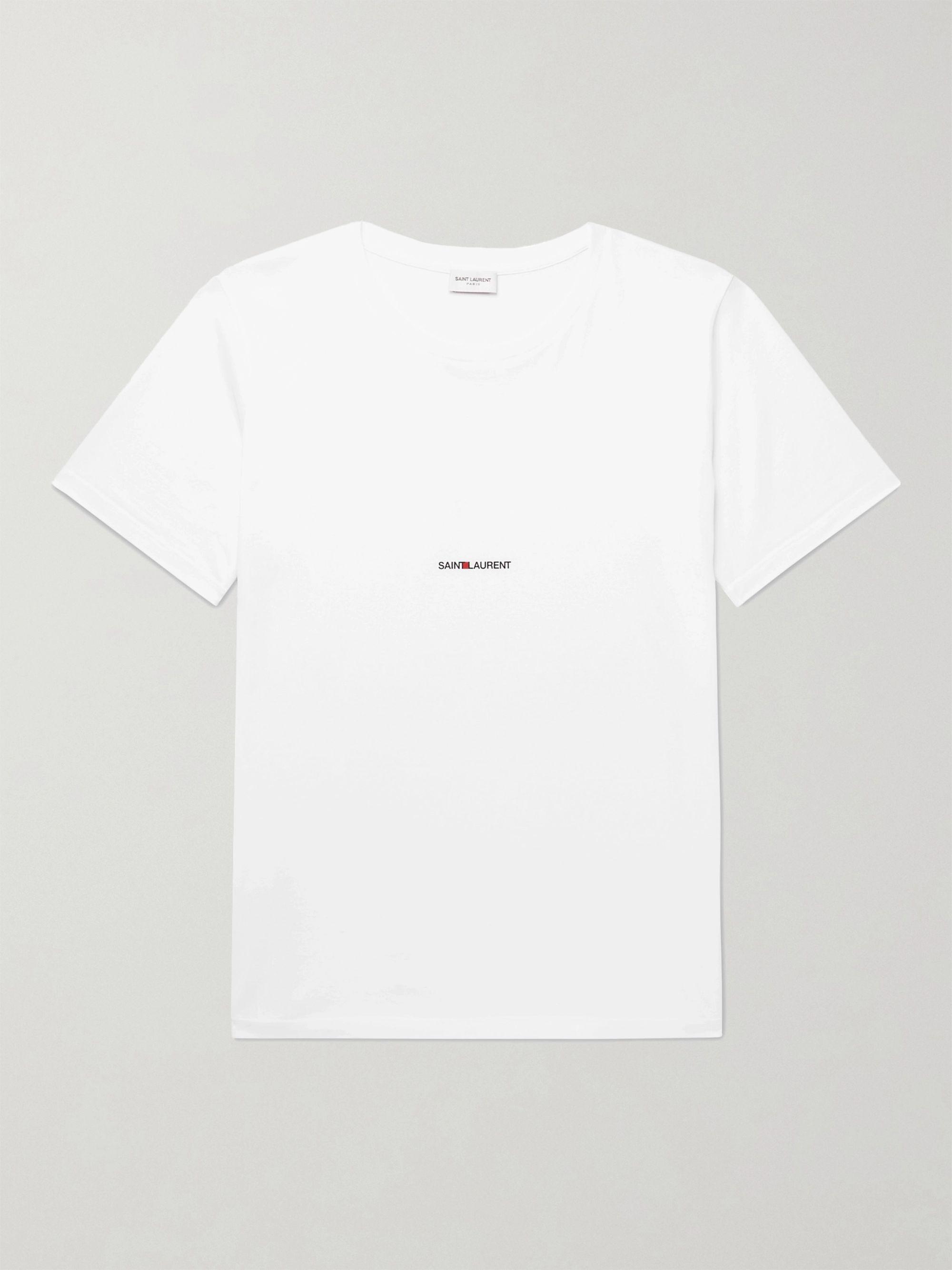 생 로랑 Saint Laurent Slim-Fit Logo-Print Cotton-Jersey T-Shirt,White