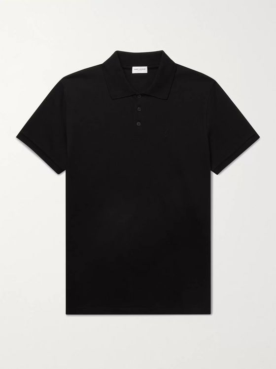 SAINT LAURENT Slim-Fit Logo-Embroidered Cotton-Piqué Polo Shirt
